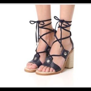 Rag & Bone Eden Block Heel Sandal Navy 36, US 6